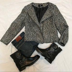 H&M versatile black tweed moto jacket size 10